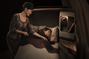 Singapore Airlines crew are in good humour on this flight.