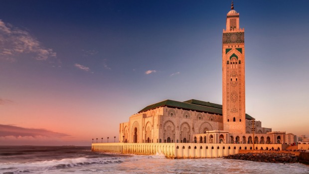 The Hassan II Mosque largest mosque in Morocco.