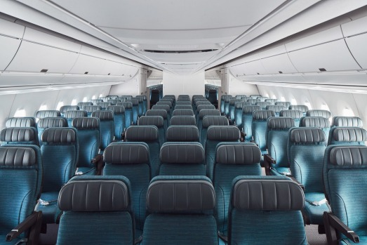 The economy class cabin on board the Cathay Pacific A350-1000.