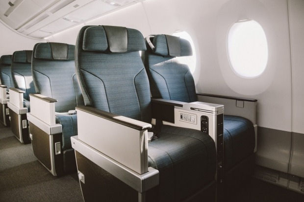 The premium economy class cabin on board the Cathay Pacific A350-1000.