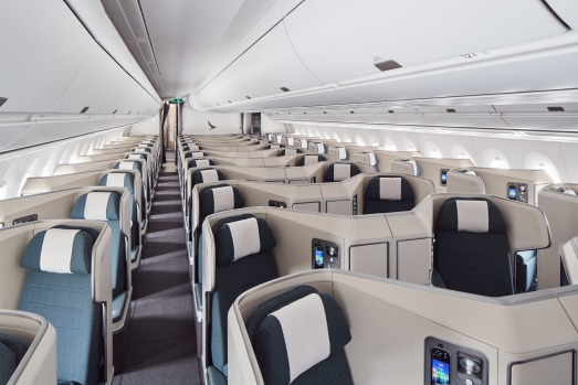The business class cabin on board the Cathay Pacific A350-1000.