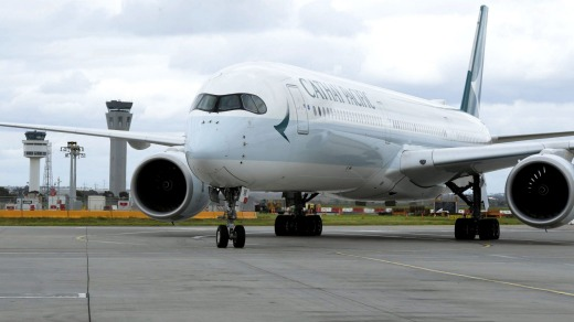 The Cathay Pacific Airbus A350-1000 arrives at Melbourne Airport on Sunday.