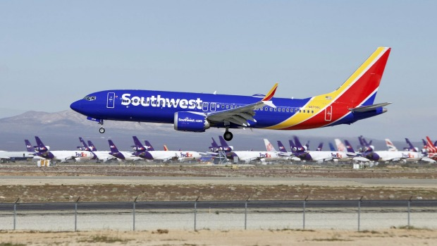 A Southwest Airlines Boeing 737 Max lands at the Southern California Logistics Airport in the high desert town of ...