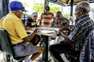 Locals playing a board game in Little Havana, Miami.