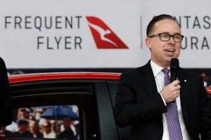 Qantas loyalty CEO Olivia Wirth and Qantas group CEO Alan Joyce during an announcement last year.