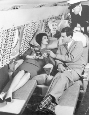 The sleeper seats in the Comet 4 during a demonstration flight for BOAC.