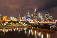MELBOURNE, AUSTRALIA - SEPTEMBER 14:  The city skyline is lit up with dancing lasers as part a light show by acclaimed ...