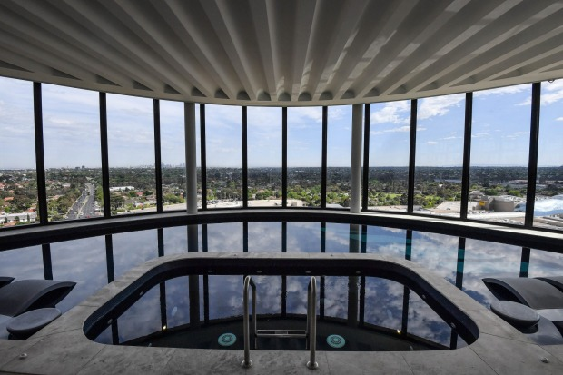 The rooftop pool offers views to Port Phillip Bay.