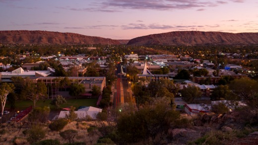 View from Anzac Hill down Hartley St in Alice Springs, Northern Territory.