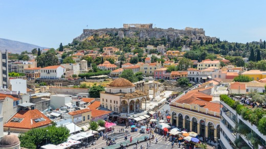 Monastiraki, a flea market neighbourhood in the old town of Athens.