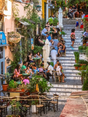 Al fresco dining in Athens' Plaka district.
