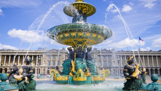 Fontaine des Mers at Place de la Concorde in Paris, France, designed by Jacques Ignace Hittorff and completed in 1840.