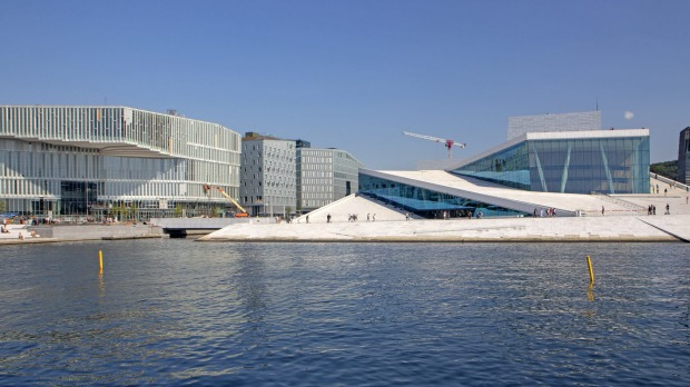 Oslo's new Deichman Library (far left) beside the city's striking Opera House.