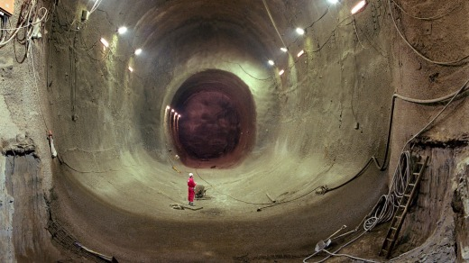 Construction of the Channel Tunnel.