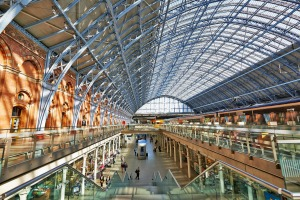 St Pancras Station in London - the main rail terminal for Eurostar train departures.