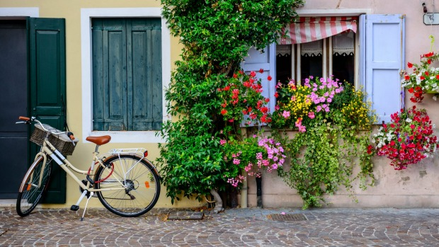 A more traditional pushbike in the colourful town of Caorle, Italy.