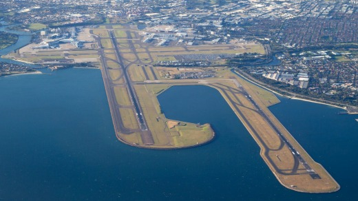 Aerial view of Sydney Airport.