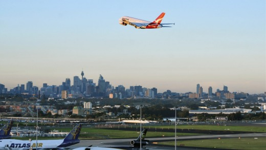 Qantas A380 taking off from Sydney Airport.