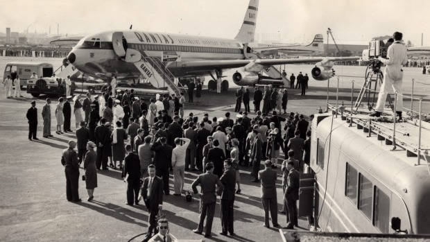 Delivery of the first Boeing 707 to Sydney Airport, 2 July 1959.