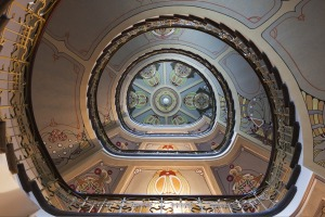 An impressive staircase in an Art Nouveau building in Riga.