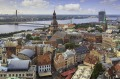 A view over central Riga, Latvia, with Riga Cathedral and Daugava River in the background.