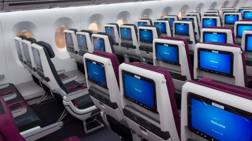Economy class on board the Qatar Airways A350-100.