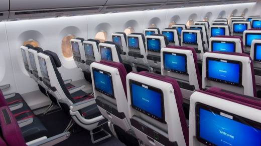 Qatar Airways economy class on the A350-1000. Cabin pressure for both the A350 and the Dreamliner is closer to ...