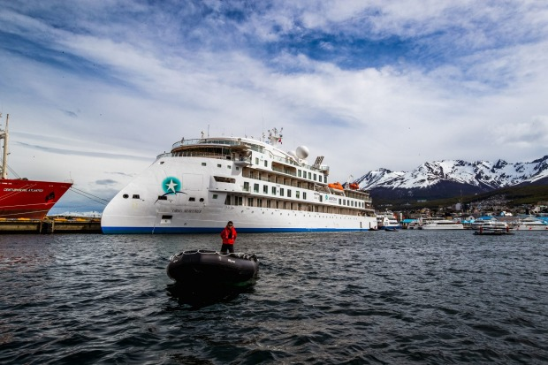 The Greg Mortimer in Ushuaia, Argentina ahead of its first voyage to Antarctica.