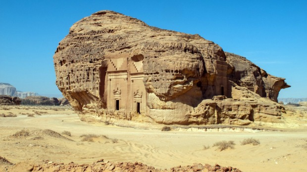 Madain Saleh, archaeological site with Nabatean tombs in Saudi Arabia.