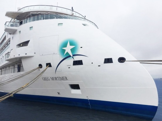 The ship's unusual 'X-bow', created by Norwegian ship designer Ulstein, is designed to absorb the force of waves more ...
