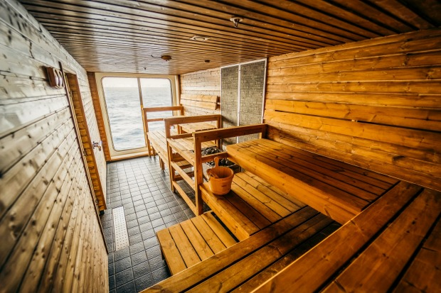The sauna on board.
