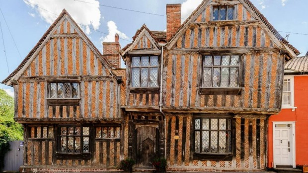 The De Vere House in Lavenham, England, is a 14th century cottage bed and breakfast in the middle of a medieval village.