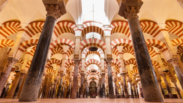 Interior of The Cathedral and former Great Mosque of Cordoba.