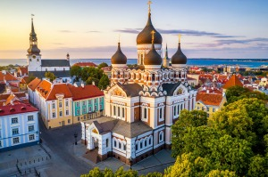 Alexander Nevsky cathedral and St Mary's Cathedral at sunset in Tallinn, Estonia.
