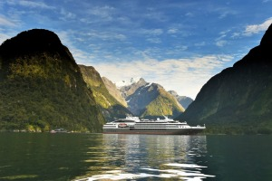 Ponant's ship L'Austral in the Milford Sound.