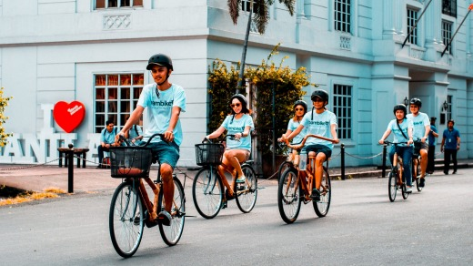 This cycle ride is on exquisitely made bamboo bikes.