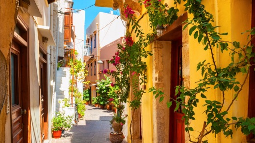 Colorful buildings in Chania.