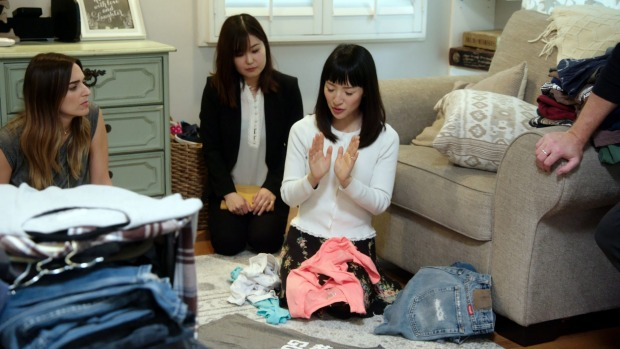 Marie Kondo (centre) applies the same rules to packing her luggage as she does to her home.