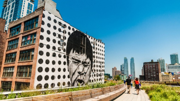 Silent Scream mural on The High Line Park in west Chelsea.