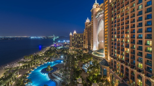 View of Atlantis, The Palm and the royal pool at night