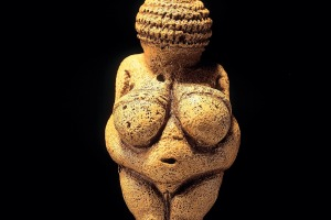 Venus of Willendorf, a statuette made of limestone, made about 25.000 BC.