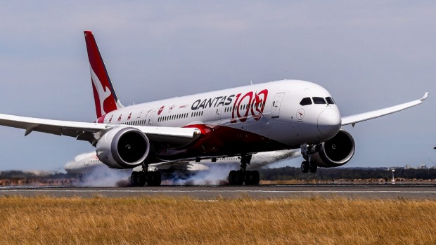 Qantas's test flight touches down in Sydney after flying non-stop from London.