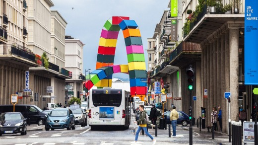 A giant sculpture by Frenchman Vincent Ganivet in Le Havre features two huge, multi-coloured arches, cobbled together ...
