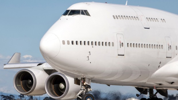 The iconic jumbo jet lines up in preparation for takeoff.