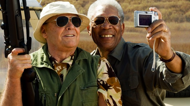 Jack Nicholson (L) and Morgan Freeman in The Bucket List, the movie where the popular term originated.