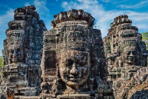 Ancient stone faces of Bayon temple, Angkor, Cambodia.