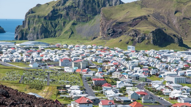 View over town of Heimaey in Iceland.