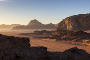 Desert landscape at sunrise.