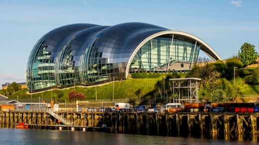 The Norman Foster-designed Sage Gateshead, a striking concert hall on the banks of the River Tyne.