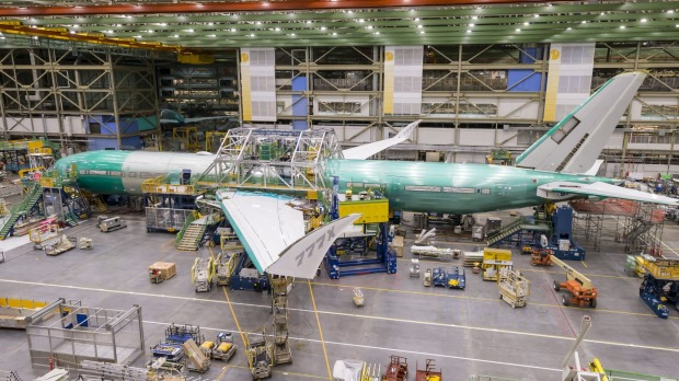 The first 777X under construction at Boeing in Everett.